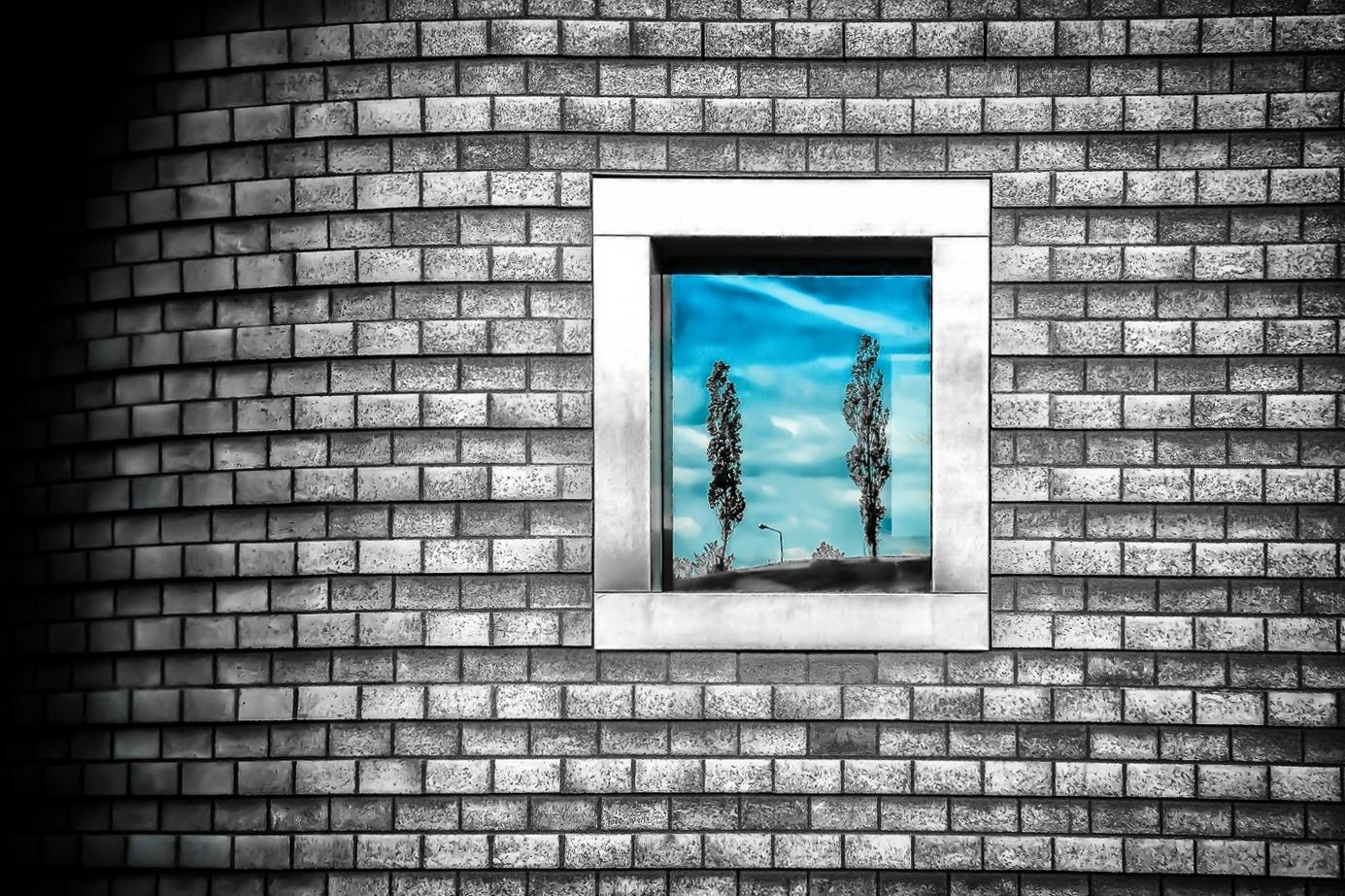 Lichtblick-im-spiegelnden-Fenster-einer-tristen-Wand